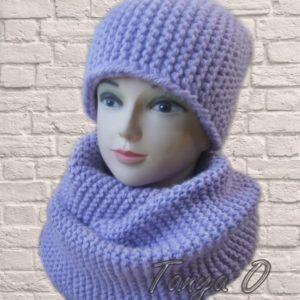 сиреневый вязаный набор шапка и шарф