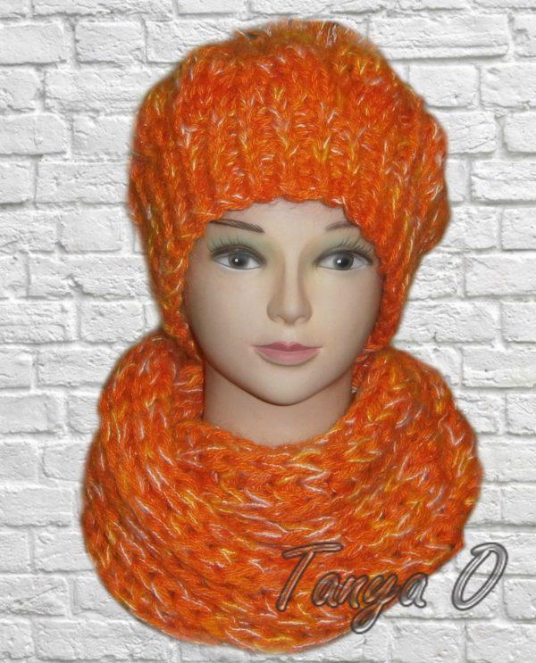 Шапка и шарф ручной работы, вязаная шапка и шарф