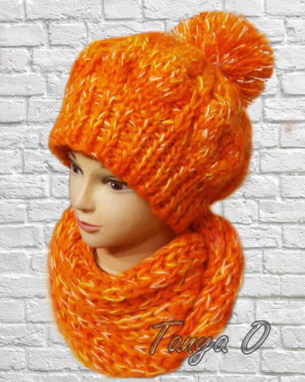 Шапка вязаная, шарф вязаный