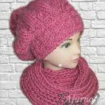 шапка и шарф вязаные Фуксия