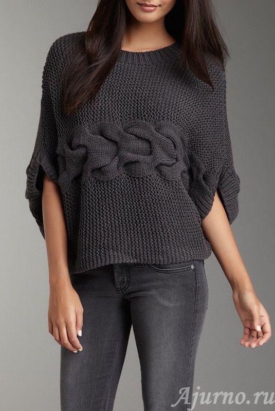 свитер связанный поперек